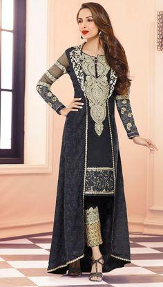 USD 71.48 Malaika Arora Khan Black Georgette Designer Suit 56035