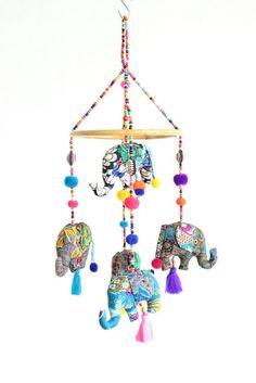 Lovely Thai Elephants Baby Mobile Handmade Bohemian Decoration on Etsy, $32.50