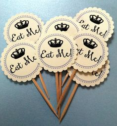 Printed Alice in Wonderland Inspired Mad Hatter Tea Party Baby Shower, Bridal Shower Eat Me! Picks, Toppers, Tags