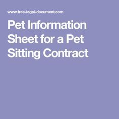 Pet Information Sheet for a Pet Sitting Contract