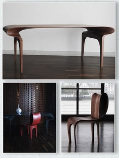 Contour Table and Chair by Bodo Sperlein. For more stunning interiors ideas follow DesignersDome on Pinterest, Facebook, Instagram and Twitter or double click on the image