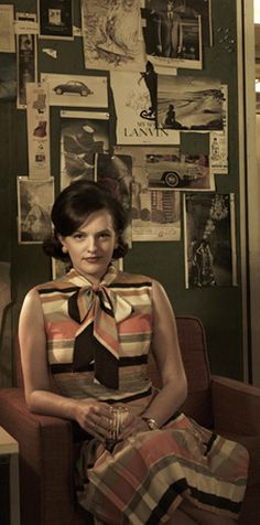 Peggy Olson Striped Pleated Dress #MadMen. Very #Profesh.