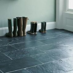 Silver blue slate tile from Fired Earth Slate Flooring, Kitchen Flooring, Slate Tiles, Flooring Tiles, Fired Earth Bathroom, Tiled Hallway, Bathroom Shop, Doors And Floors, Wall And Floor Tiles