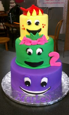 Barney Theme Birthday Cake...I think this is simple and cute!