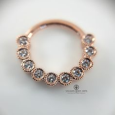 "16g 3/8"" rose gold ""scalloped edge eternity"" hinged ring"