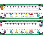 Student Name Tags for desks or Cubbies. They include: colors, right/left, alphabet with vowels in red, and a number line.  They are in a bug/garden...