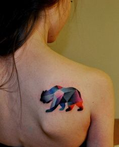 geometric tattoo, not sure i like the bear but very neat