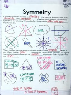 Dilations and Symmetry INB Pages Geometry Lessons, Teaching Geometry, Teaching Math, Math Lessons, Geometry Activities, Teaching Tips, Geometry Interactive Notebook, Interactive Notebooks, 8th Grade Math