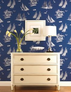 Chic Nautical and Coastal Wallpaper (some even removable): http://www.completely-coastal.com/2015/02/chic-nautical-and-coastal-wallpaper.html