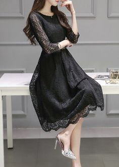 High Waist Belt Design Midi Lace Dress on sale only US$25.43 now, buy cheap High Waist Belt Design Midi Lace Dress at lulugal.com