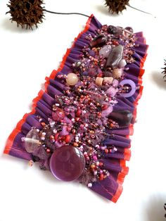 Purple dream III unique wearable fiber art cuff ruffle por - waff life photos and shared Fiber Art Jewelry, Textile Jewelry, Fabric Jewelry, Jewelry Art, Beaded Jewelry, Jewellery, Unique Bracelets, Handmade Bracelets, Handmade Jewelry