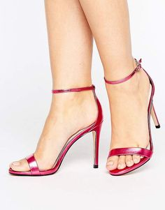 8be810a44e0 Steve Madden Stecy Metallic Pink Barely There Heeled Sandals - Metallic  Fuschia Pink High Heels from