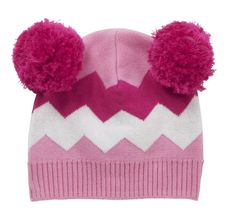 Baby Bobble Hat - Girls Chevron - available in one size (0-12 months) RRP £14.00