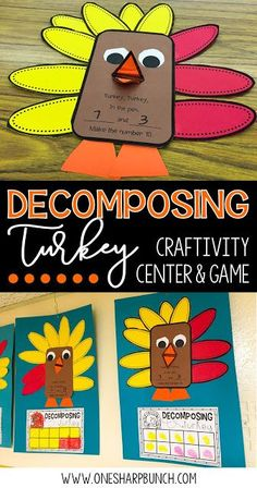 Build number sense with these interactive and thematic Decomposing Turkey activities!  Gather the correct number of red and yellow feathers and place them around the turkey craft.  Dont forget to sing the fun chant!