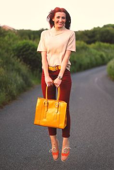 Yellow tote bag & red skinny jeans by @notlamb