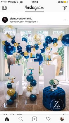 Navy Blue and Gold Balloon Garland Party Styling by Glam Wonderland Balloon Garland, Balloon Decorations, Birthday Decorations, Balloon Arrangements, Balloon Ideas, Blue Party, Gold Party, Baby Shower Themes, Baby Boy Shower