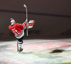 Antti Raanta's celebration skate around the ice as he was named #1 Star of the Game after his first NHL shutout! (12/30/13) so proud to say that was my first Hawks game!!