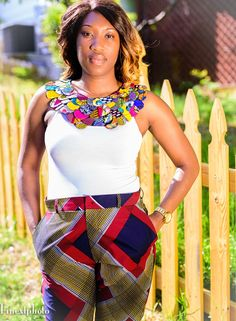 Ankara Cape Necklace. A bright Ankara print patchwork necklace handmade from carefully selected African Wax Prints. Each piece is unique.#ankara #africanfashion #style #ghana #accessories