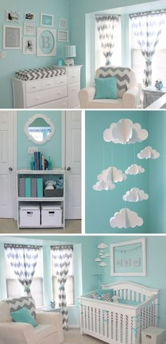 Aqua and Gray Chevron Nursery 2019 Mint & Chevron Baby Nursery. I love the clouds The post Aqua and Gray Chevron Nursery 2019 appeared first on Nursery Diy. Baby Boy Rooms, Baby Boy Nurseries, Kids Rooms, Baby Room Ideas For Boys, Room Baby, Baby Boy Bedroom Ideas, Baby Room Themes, Baby Girl Nursery Themes, Baby Room Colors