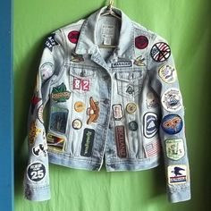 Patch covered jean jackets.