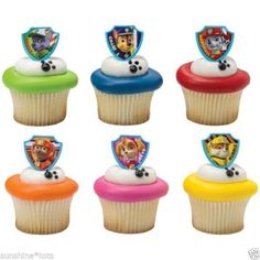 Paw Patrol Party Cake Topper Cupcake Rings Favors 24 Count NEW Rocky Skye Zuma Rubble #Paw Patrol Party