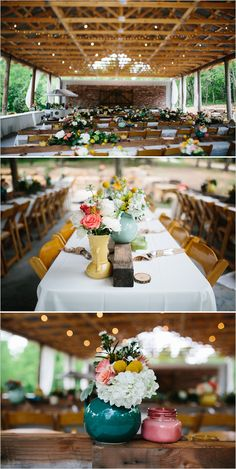 family style seating with diy centerpieces