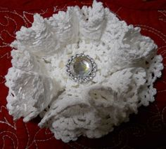 Handmade Doily FLower made from 6 different doilies and rhinestone