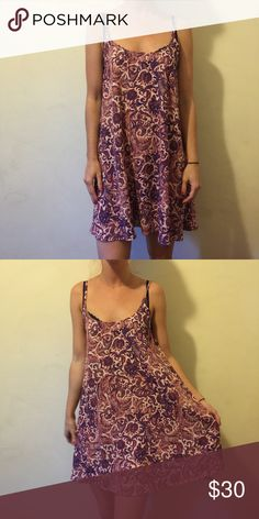 Intimately FREE PEOPLE 70's Print Shift Dress Intimately by Free People, not lined and is a gorgeous shade of orange and blue/purple. No closures and has a cut out in back center. Looks great as is or even could be used as a beach coverup. Size XS Free People Dresses Mini
