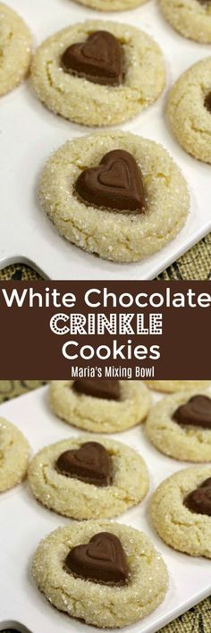 White Chocolate Crinkle Cookies are soft yet chewy. Such a versatile cookie that is super easy to make and comes out perfect every time! Chocolate Crinkle Cookies, Chocolate Crinkles, Chocolate Cookie Recipes, Gluten Free Chocolate, Cookie Desserts, Chocolate Flavors, Dessert Recipes, Cookie Cups, Best Christmas Cookie Recipe