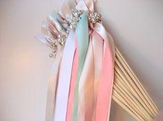 pastel colors spring wedding ribbon wands
