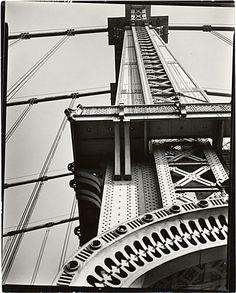 Citation: Manhattan Bridge looking up, 1936 Nov. 11 / Berenice Abbott, photographer. Changing New York [graphic] / Berenice Abbott, Archives of American Art, Smithsonian Institution.