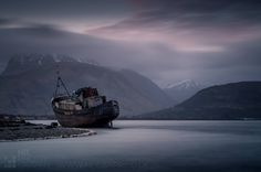Corpach boat wreck, Ben Nevis in Fort William.