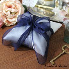 【Stephanie】シルクジョーゼットリボンのリングピロー(ネイビー) | ハンドメイドマーケット minne