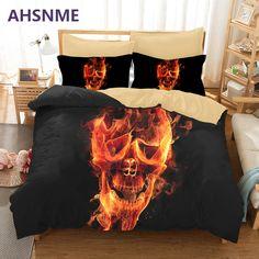 3D Flame Skull Devil Fire Duvet Cover Pillowcase Comforter Bedding Set 3pcs