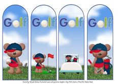 Gary the Golfer Book Marks on Craftsuprint designed by Rhonda Brittain - A set of 4 male golfer book marks. Ideal for the male golfer in your life - Now available for download!