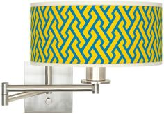 Yellow Brick Weave Brushed Steel Swing Arm Wall Lamp - #EUK1164-W3477 - Euro Style Lighting