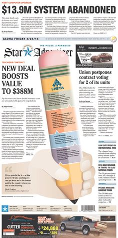 GIANT PENCIL. Also, a whole story about the flag. | The Honolulu Star-Advertiser for April 23, 2015, via Today's Front Pages | Newseum #newsdesign #newspapers