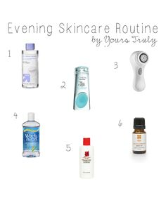 Evening Skincare Routine--from makeup removal to cleansing to toning to acne and anti-aging products