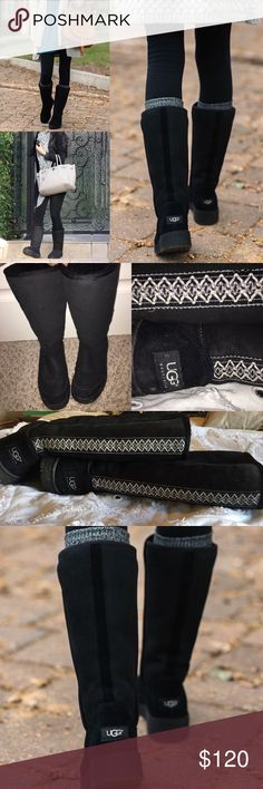 Tall black Ugg boots! In great condition tall black Uggs with design up the back! In truly wonderful condition. UGG Shoes Winter & Rain Boots