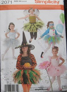 Simplicity Halloween Girls Costume Pattern Tutu by TheHowlingHag, $7.95