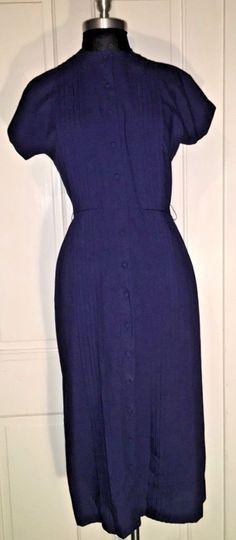 97393472eaa0 vintage 50 s Blue linen Johnathan Logan pleated dress sz S  fashion   clothing  shoes