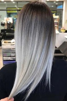 Short Hairstyles: 17 Grey Ombre Hair Ideas To Try In 2019 – Balayage Haare Silver Ombre Hair, Dark Ombre Hair, Ombre Hair Color, Brown To Grey Ombre, Icy Blonde, Dark To Silver Hair, Grey Hair With Dark Roots, Grey Hair Colors, Grey Blonde Hair Color