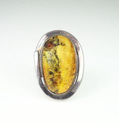 Vintage Modernist Sterling Silver 925 Amber Ring