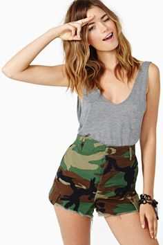 Take Charge Camo Cutoff Shorts by #AfterParty by #NastyGal