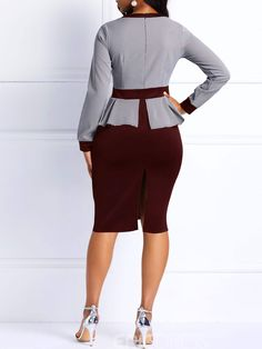 Ericdress Bodycon Long Sleeves Color Block Women's Dress African Fashion Dresses, Fashion Outfits, African Dress, Fashion Clothes, Pencil Skirt Outfits, Summer Work Outfits, Suits For Women, Mens Suits, Dress First