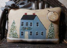 Primitive Folk Art Christmas Painted House by auntiemeowsprims