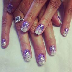 White and purple fade glitter bio sculpture gel nail art