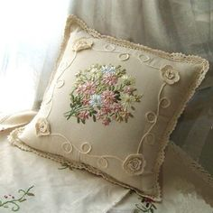 Embroidery Silk Ribbon You can Buy this pillow cover. Beautiful Ribbon Embroidery Crochet Lace Cushion Cover - High quality and beautiful bedding covers, duvets, sheets and pillow cases for zen mood in your bedroom. Cushion Embroidery, Embroidery Needles, Silk Ribbon Embroidery, Embroidery Patterns, Embroidery Supplies, Hand Embroidery Tutorial, Ribbon Art, Cushions, Pillows