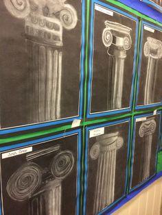 Greek and Roman columns chalk and charcoal - Art Education Art Pastel, Greece Art, Middle School Art Projects, Art History Lessons, Roman Columns, Ancient Greek Art, 6th Grade Art, Ecole Art, Art Curriculum
