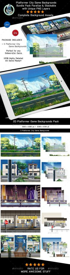 5 Platformer City Game Backgrounds - Parallax & Stackable - Backgrounds Game Assets